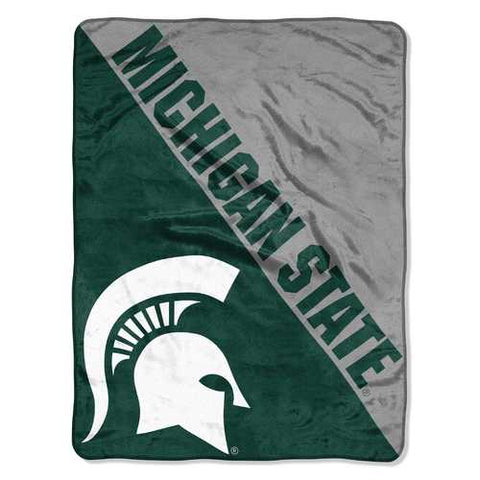 Michigan State Spartans Blanket 46x60 Micro Raschel Halftone Design Rolled - Zymotic