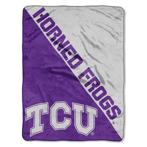 TCU Horned Frogs Blanket 46x60 Micro Raschel Halftone Design Rolled - Zymotic