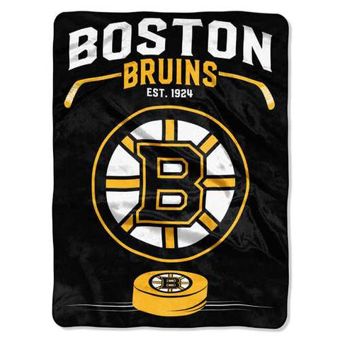 Boston Bruins Blanket 60x80 Raschel Inspired Design - Zymotic