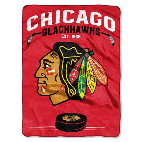 Chicago Blackhawks Blanket 60x80 Raschel Inspired Design - Zymotic