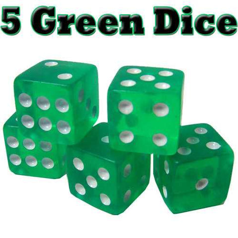 5 Green Dice - 16mm - Zymotic