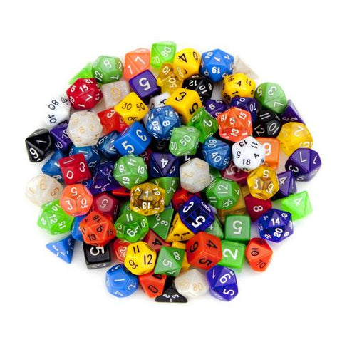 100+ Pack of Random Polyhedral Dice w/ Free Pouch - Zymotic
