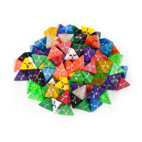 100+ Pack of Random D4 Polyhedral Dice in Multiple Colors - Zymotic