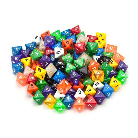 100+ Pack of Random D8 Polyhedral Dice in Multiple Colors - Zymotic