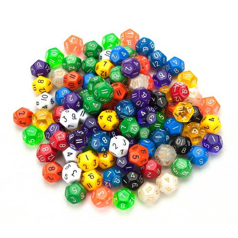 100+ Pack of Random D12 Polyhedral Dice in Multiple Color - Zymotic