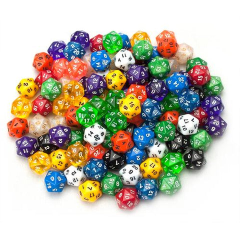 100+ Pack of Random D20 Polyhedral Dice in Multiple Color - Zymotic