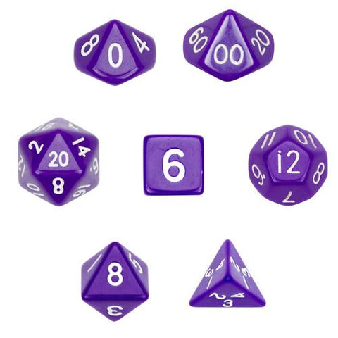 7 Die Polyhedral Dice Set  in Velvet Pouch-Opaque Purple - Zymotic