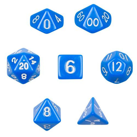 7 Die Polyhedral Dice Set  in Velvet Pouch- Opaque Blue - Zymotic