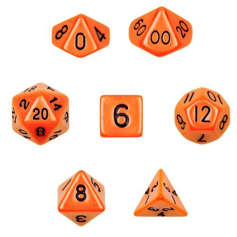 7 Die Polyhedral Dice Set in Velvet Pouch- Opaque Orange - Zymotic