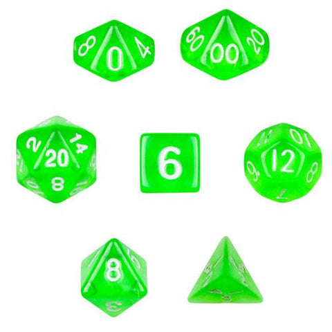 7 Die Polyhedral Dice Set in Velvet Pouch- Translucent Green - Zymotic