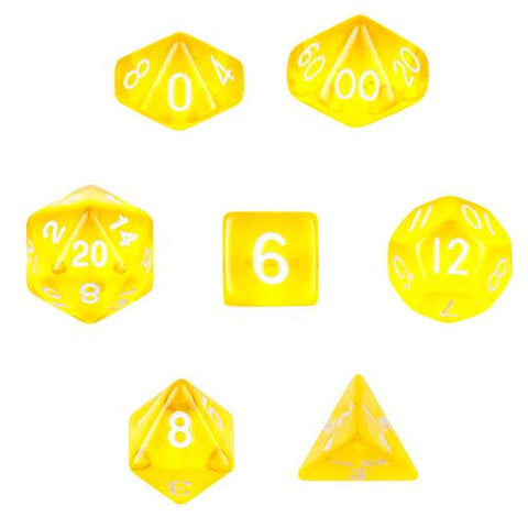7 Die Polyhedral  Set  in Velvet Pouch-Translucent Yellow - Zymotic