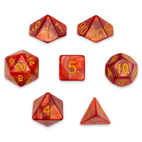 7 Die Polyhedral Set in Velvet Pouch, Dragon Scales - Zymotic