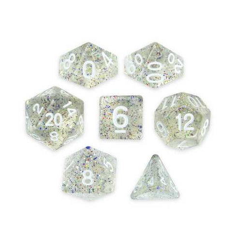 Set of 7 Polyhedral Dice, Sparkle Vomit - Zymotic