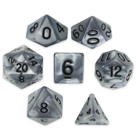 Set of 7 Polyhedral Dice, Quicksilver - Zymotic