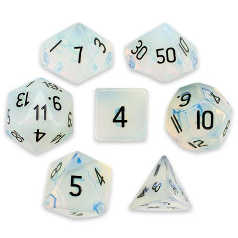 Set of 7 Handmade Stone Polyhedral Dice, Opalite - Zymotic