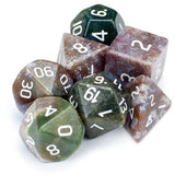 Set of 7 Handmade Stone Polyhedral Dice, Indian Agate - Zymotic
