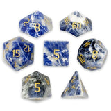 Set of 7 Handmade Stone Polyhedral Dice, Sodalite - Zymotic