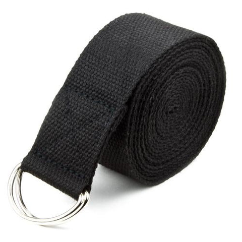 Black 10' Extra-Long Cotton Yoga Strap with Metal D-Ring - Zymotic