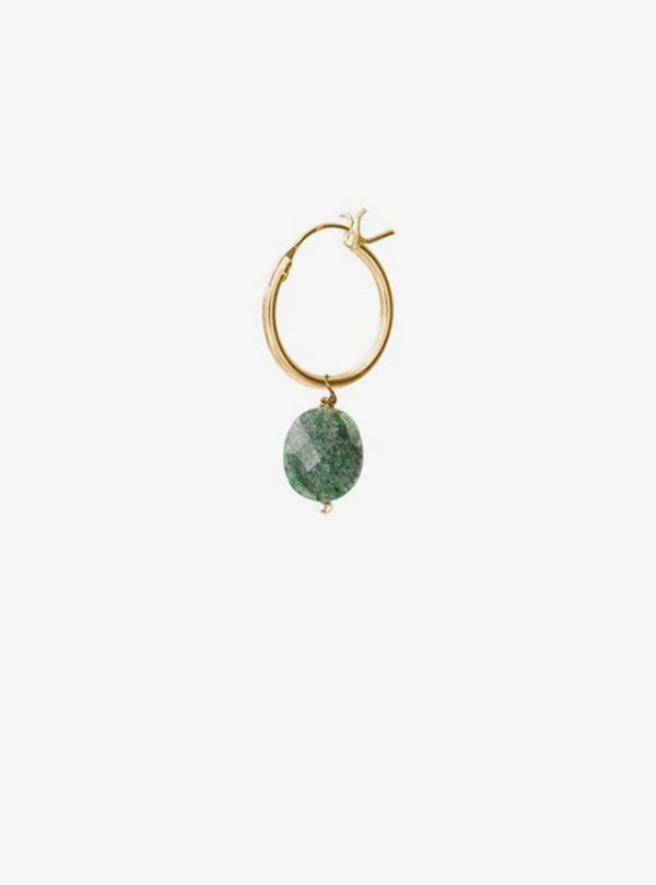 a beautiful story Earrings Aventurine - gold hoop earring