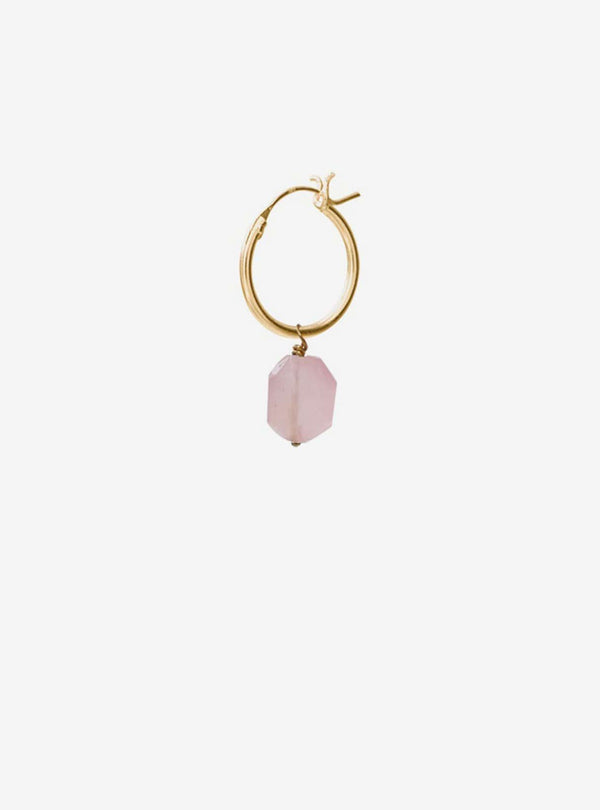 a beautiful story Earrings Rose quartz - sterling silver gold-plated hoop earring
