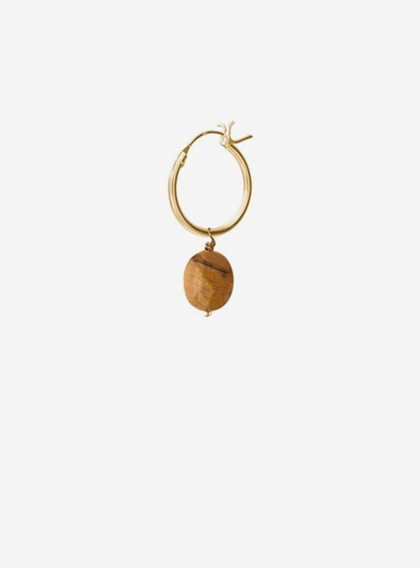 a beautiful story Earrings Tiger eye - gold hoop earring