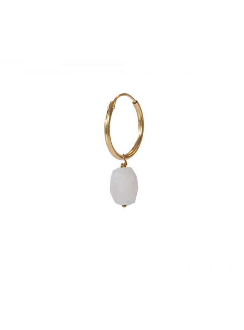 A beautiful story jewellery Moonstone - hoop earring - sterling silver gold­plated