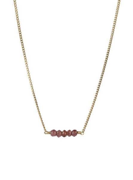 Petite garnet necklace - sterling silver gold-­plated