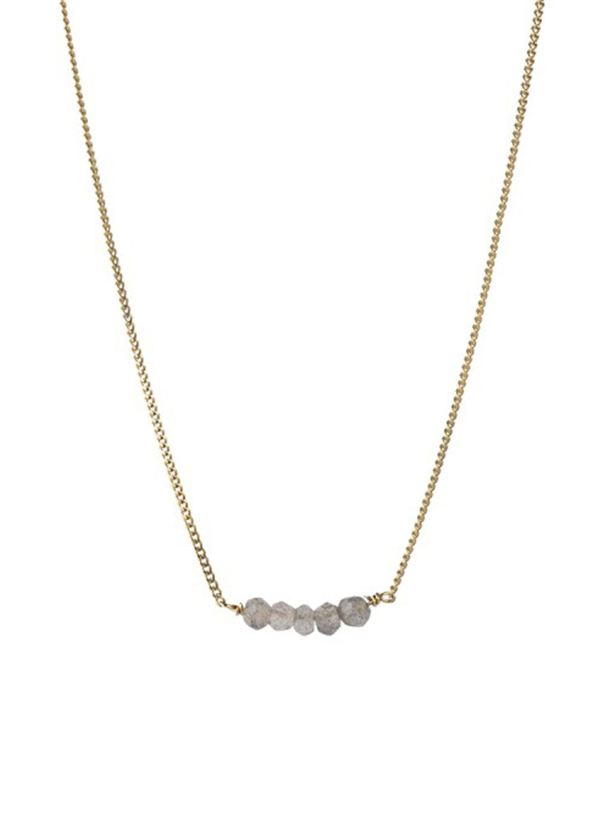 Petite labradorite necklace - sterling silver gold-plated