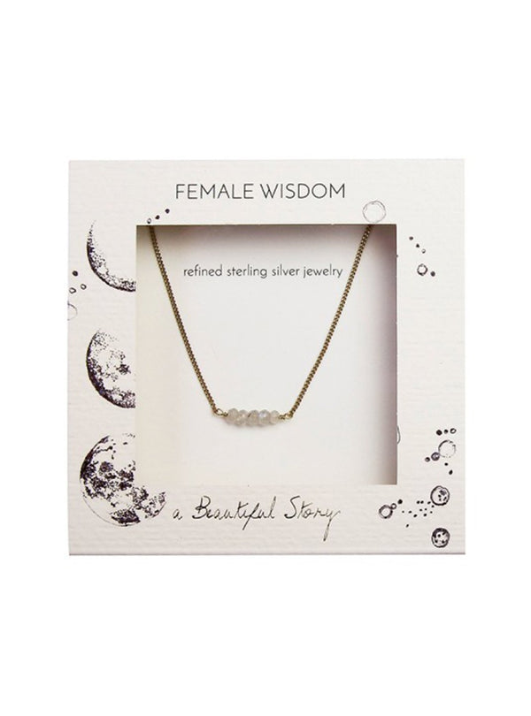 A Beautiful Story jewellery Petite moonstone necklace - sterling silver gold-plated