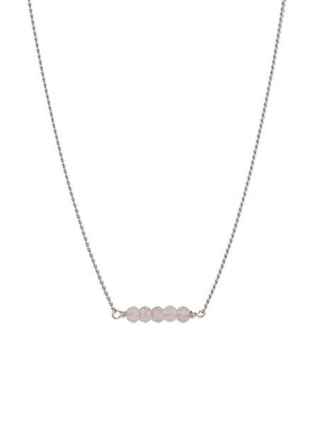 Petite rose quartz necklace - sterling silver