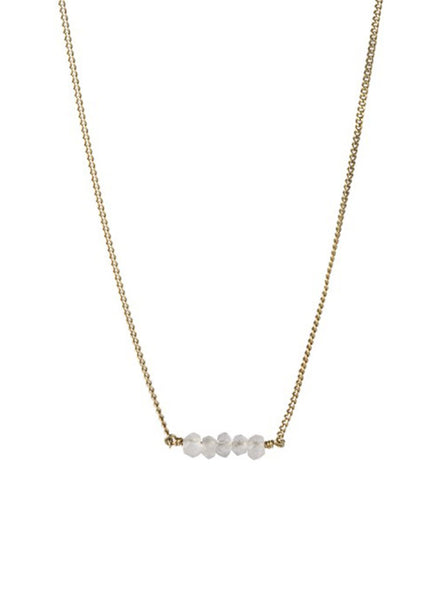 Petite rose quartz necklace - sterling silver gold­-plated
