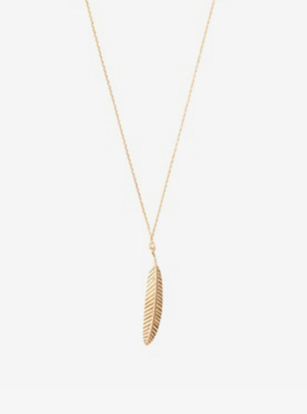 a beautiful story Necklaces Delicate feather - sterling silver gold-plated necklace
