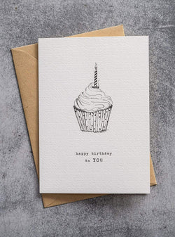 A Beautiful Story stationary Cupcake - postcard - happy birthday to you
