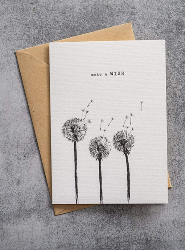 A Beautiful Story stationary Dandelion - postcard - make a wish