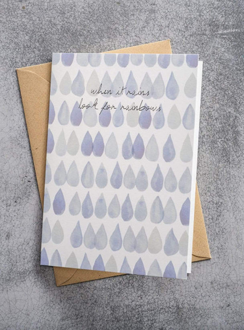 A beautiful story stationary Raindrops - postcard - when it rains look for rainbows