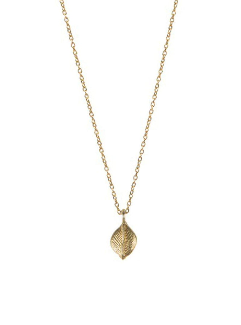 Delicate leaf - sterling silver gold-plated necklace