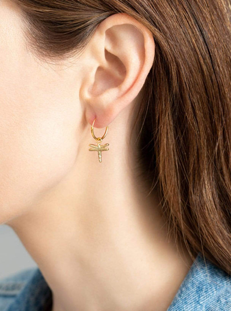 Dragonfly - sterling silver gold-plated hoop earring - 1 piece