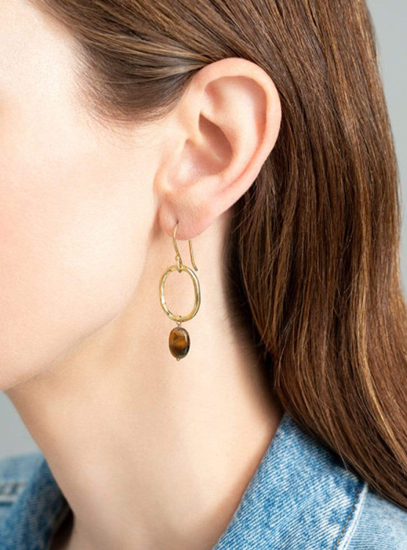 Graceful tiger eye - gold earrings