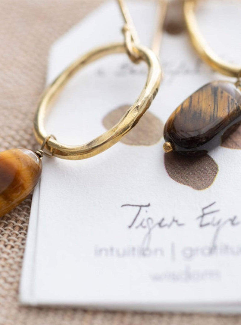 a beautiful story Womens jewellery Graceful tiger eye gold earrings