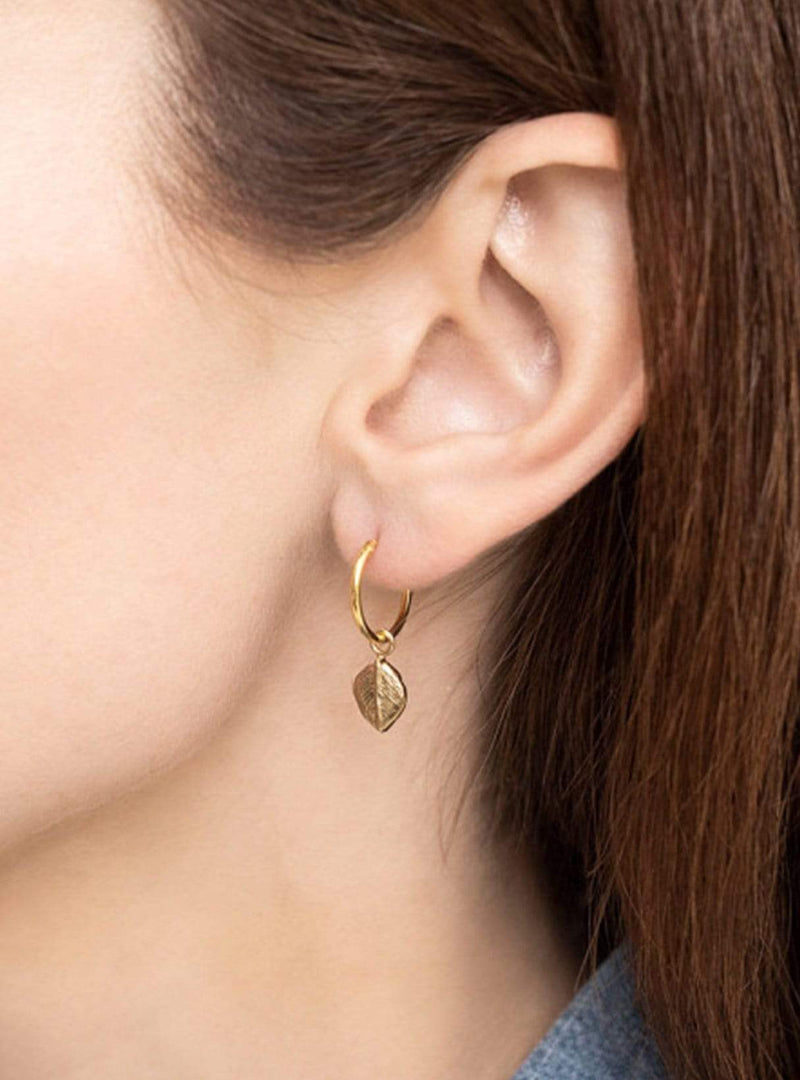 Leaf hoop earring - sterling silver gold-plated - 1 piece