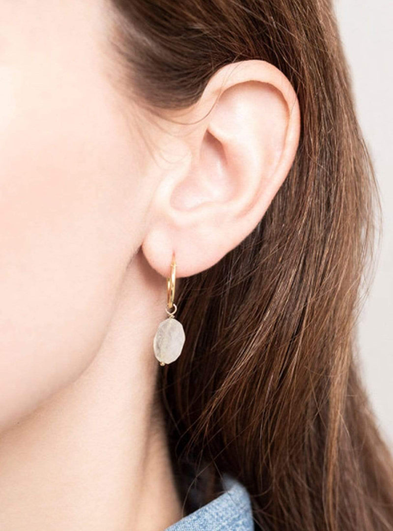 a beautiful story Womens jewellery Moonstone - hoop earring - sterling silver gold­plated