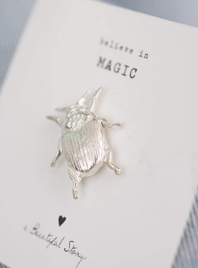 a beautiful story Womens jewellery silver Beetle - gold brooch