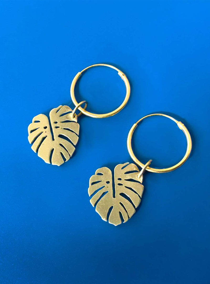 all things we like Earrings Monstera - hoop earrings - gold