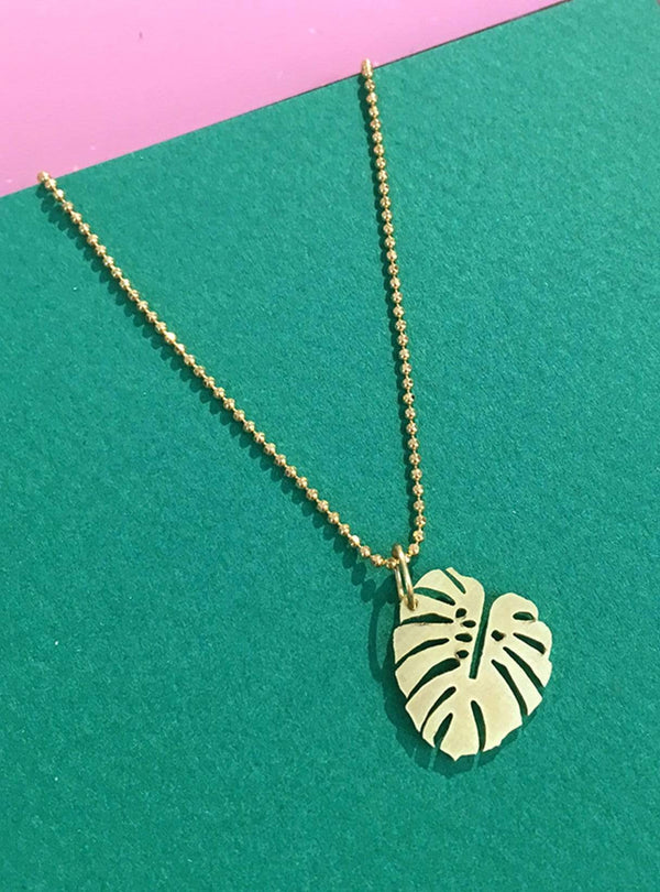 all things we like Necklaces Monstera - necklace - gold