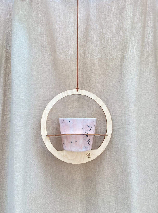 all things we like Plant hanger - wood round - 20 cm