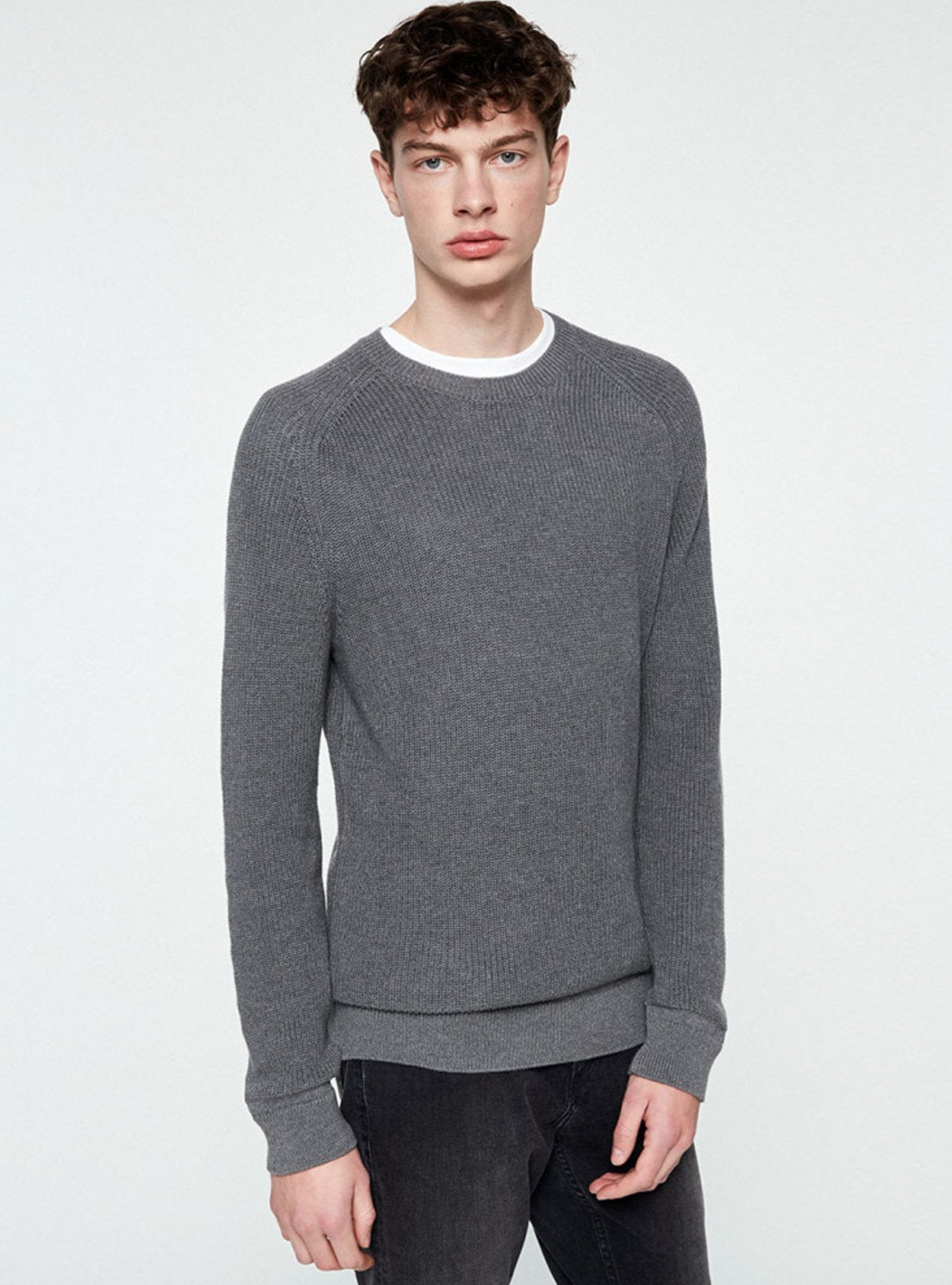 Aandri - sweater - mid grey melange