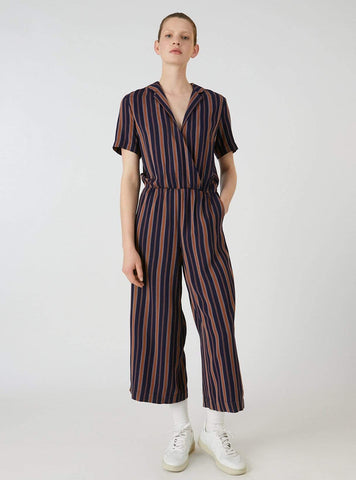 Auraa multicol stripes - jumpsuit - evening blue/maroon