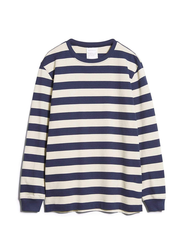 armedangels Mens sweaters Elmaar stripes - sweater - pacific ink/linen