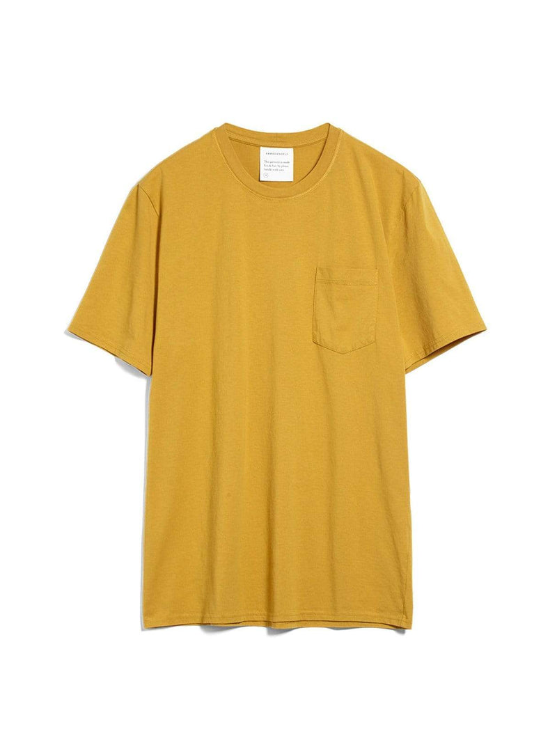 armedangels Mens t-shirts Aaik pocket - t-shirt - mustard yellow