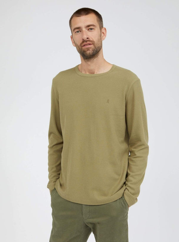 armedangels Mens t-shirts S / dark sage Johaan waffle - long sleeve t-shirt - dark sage